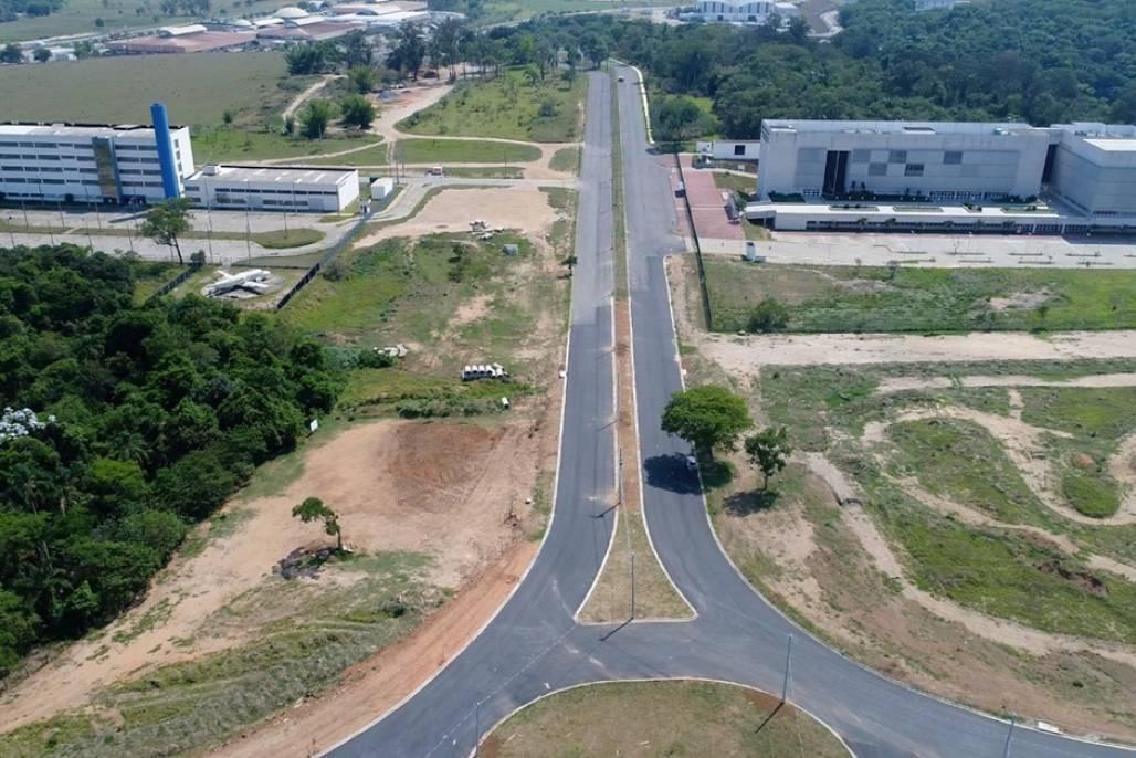 parque-tecnologico (Vista aérea do loteamento industrial, na região leste de São José - Foto: PMSJC)